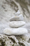 Pebble Stack in Lulworth Cove Beach, Dorset Stock Photo