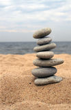 Pebble stack on the seashore. Stones balance, pyramid, background , nature Royalty Free Stock Photography