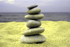 Pebble stack on the seashore. Stones balance, pyramid, background , nature Royalty Free Stock Image