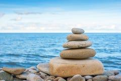Pebble stack. Stone stack on pebble beach Stock Image