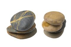 Pebble stack on white background Royalty Free Stock Image