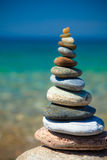 Pebble Stacking. Pebble Beach - Dilek National Park, Turkey stock photo