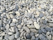 Pebble stone background, outdoor natural river white grey rock pebble small size, abstract dry garden round stones texture backgro Stock Photography