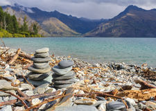 Pebble Stones at Lake Wakatipu Queenstown New Zealand. Quiet Place Stock Image