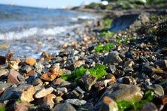 Pebble stones near the sea in bright sunset light Stock Photography