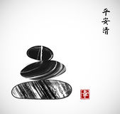 Pebble stones piled up on white background. Traditional Japanese ink painting sumi-e. Contains hieroglyphs - peace. Tranquility, clarity, happiness vector illustration