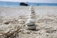 Pebble tower. Tower of pebbles at the beach Stock Photography
