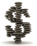 Pebble tower shaped as dollar sign. Over white. Extralarge resolution Stock Image