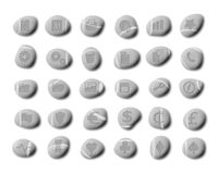 Pebble web icons, set 2. A set of icons stone-carved on pebbles on a white background for your web site user interface Royalty Free Stock Image