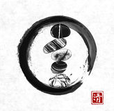 Pebble zen stones balance in black enso zen circle on rice paper background. Traditional Japanese ink painting sumi-e. Contains hieroglyph - zen stock illustration