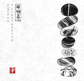 Pebble zen stones balance on rice paper background. Traditional Japanese ink painting sumi-e. Contains hieroglyphs - zen, freedom, nature Stock Illustration