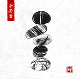 Pebble zen stones balance on rice paper background. Traditional Japanese ink painting sumi-e. Contains hieroglyphs - peace, tranquility, clarity, zen stock illustration
