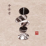 Pebble zen stones balance on vintage background. Traditional Japanese ink painting sumi-e. Contains hieroglyphs - peace. Tranquility, clarity, zen royalty free illustration