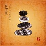 Pebble zen stones balance on vintage background. Traditional Japanese ink painting sumi-e. Contains hieroglyphs - zen. Freedom, nature stock illustration