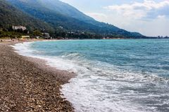 Pebbled beach of Black Sea in Gagra Stock Image