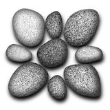 Pebbles. Black and white pebbles illustration Royalty Free Stock Images