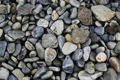 Pebbles. Multiple shapes and sizes of pebbles on the beach stock image