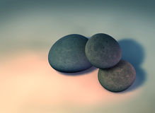 Pebbles 2. My 3D rendering of 3 single pebbles on a solid background Stock Images