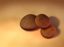 Pebbles. My 3D rendering of 3 single pebbles on a solid background Stock Image