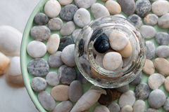 Pebbles. Arrangement and decoration with pebbles close up Royalty Free Stock Images