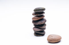 Pebbles balance, arrangement on the white background Royalty Free Stock Images