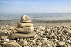 Pebbles on a beach, harmony and balance zen idea Royalty Free Stock Images