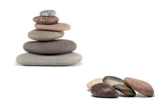 Pebbles and Cairn with Selective Focus on Foreground Stock Images