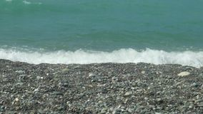 Pebbles coast and small waves stock video footage