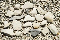 Pebbles on the coast. Coast of the Volga river Voskresenskoye Village of Saratov region on 20 July 2014 Stock Photos