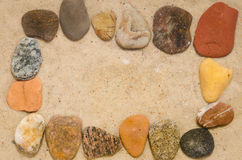 Pebbles composition on stone Royalty Free Stock Image