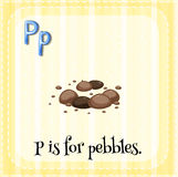 Pebbles. Flashcard letter P is for pebbles Royalty Free Stock Images