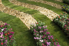 Pebbles and Flower Beds Stock Photo