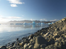 Pebbles with Glacier in the background Royalty Free Stock Photography