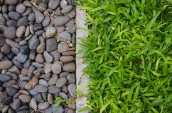Pebbles and green lawn Royalty Free Stock Photography