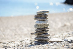 Pebbles In Balancing On The Beach Royalty Free Stock Photography