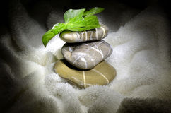 Pebbles and ivy leaves on towel Stock Photos