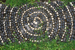Pebbles mosaic floor with spiral pattern and plant Stock Images