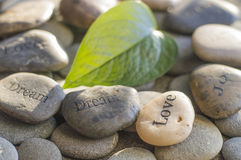 Pebbles printed with words Royalty Free Stock Photography