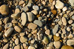 Pebbles on a river bed. Royalty Free Stock Image