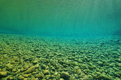 Pebbles river underwater riverbed with clear water Royalty Free Stock Photo