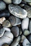 Pebbles on a rock beach. Close up royalty free stock photos