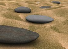 Pebbles on sand - 3d Render Royalty Free Stock Photography
