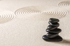 Pebbles and sand with circles Stock Photos