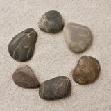 Pebbles in sand ring formation Stock Photo
