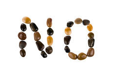 Pebbles in shape of word no Royalty Free Stock Images