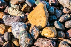 Pebbles in a shore of an island Stock Images