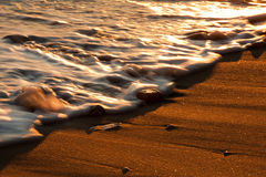 Pebbles at sunset. A setting sun shines golden light on pebbles scattered on a wave-washed beach royalty free stock photo