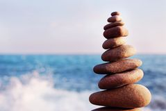 Pebbles tower Zen and balance. Stones balance, pebbles stack on Stock Photos
