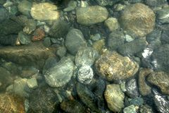 Pebbles under Water. Rounded stone pebbles of various sizes and grain patterns submerged under water Stock Images