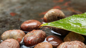 Pebbles in water background stock photos